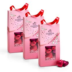Valentine's Day Foiled Hearts Chocolates Pouch, Set of 3, 20 pc. each