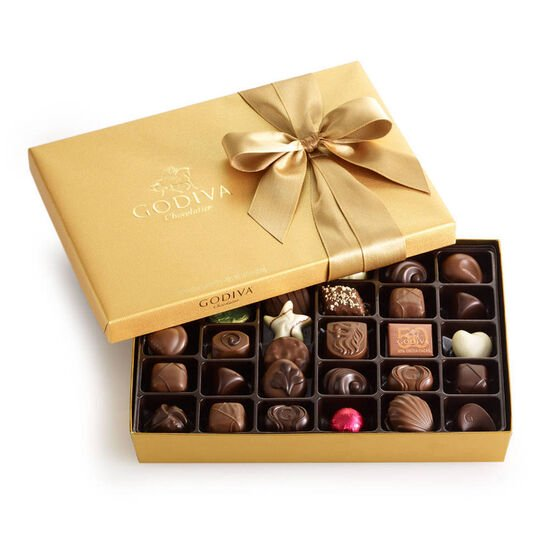 Assorted Chocolate Gold Gift Box, Classic Ribbon, 36 pc. image number null
