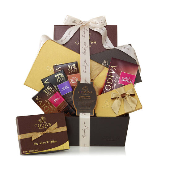Chocolate Connoisseur Basket, Thank You Ribbon image number null
