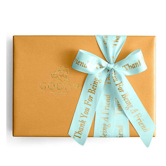 Assorted Chocolate Gold Gift Box, Personalized Aqua Ribbon, 70 pc. image number null