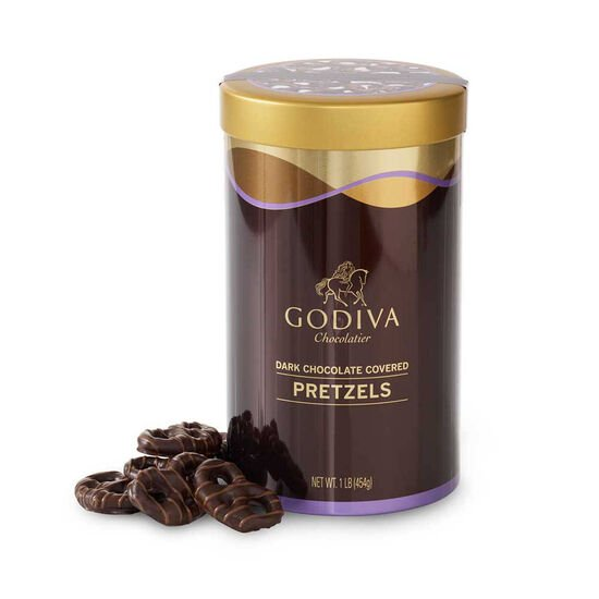 Dark Chocolate Covered Pretzel Canister, 1 lb. image number null