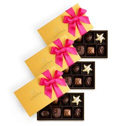 Spring Assorted Chocolate Gold Gift Box, Set of 3, 8 pc. each