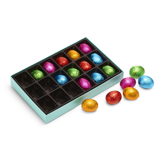 Foil-Wrapped Chocolate Easter Egg Gift Box, 18 pc. image number null
