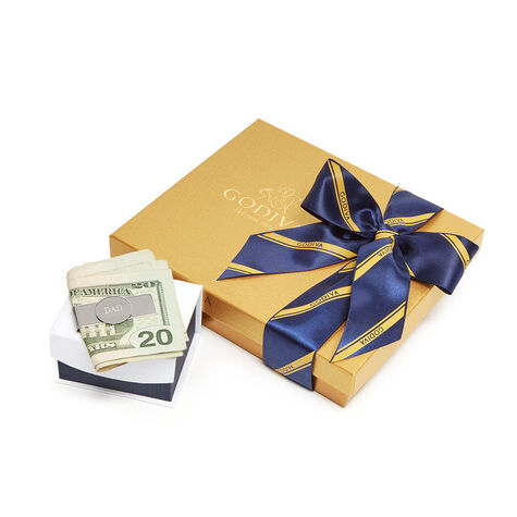 Money Clip with Assorted Chocolate Gold Gift Box, Striped Tie Ribbon, 19 pc.
