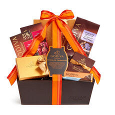 Chocolate Celebration Gift Basket, Orange Stripe Ribbon