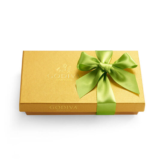 Assorted Chocolate Gold Gift Box, Light Green Ribbon, 8 pc. image number null