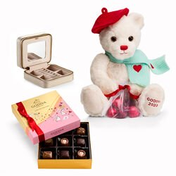 Travel Jewerly Case with Valentine's Day Assorted Chocolate Gift Box and Teddy Bear