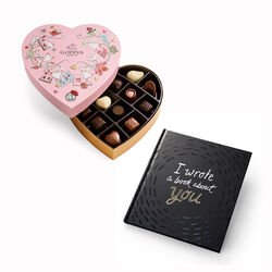 I Wrote A Book About You Book with Valentine's Day Heart Chocolate Gift Box, 14 pc.