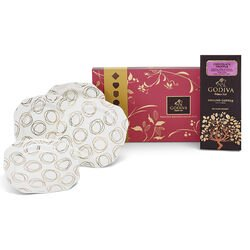 Set of 4 Gold & White Dessert Plates, Assorted Chocolate Biscuits & Chocolate Truffle Coffee