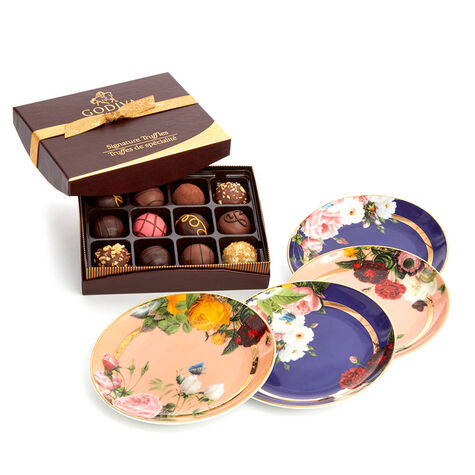 Set of 4 Appetizer Plates with Signature Chocolate Truffles, 12 pc.