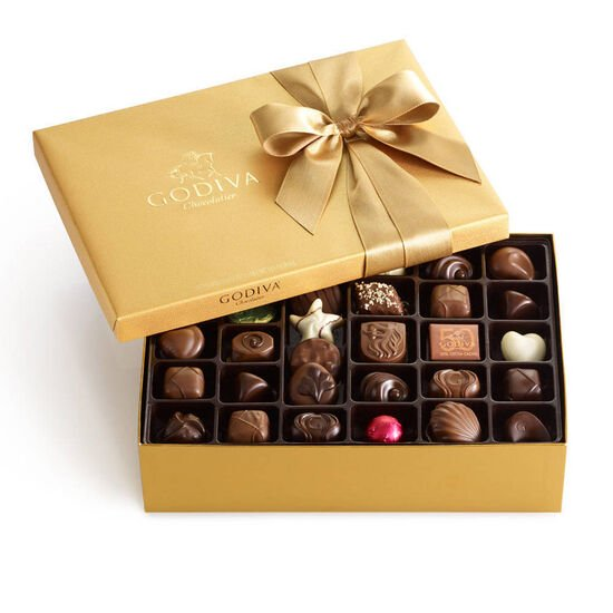 Assorted Chocolate Gold Gift Box, Classic Ribbon, 70 pc. image number null
