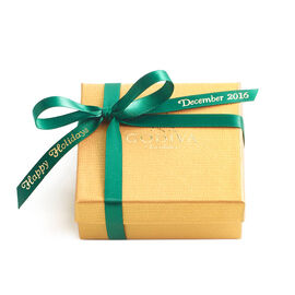 Assorted Chocolate Gold Favor,  Personalized Forest Green Ribbon, 4 pc.