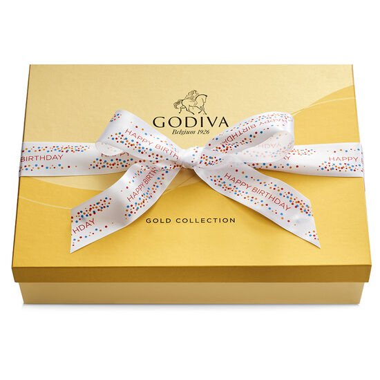 Assorted Chocolate Gold Gift Box, Happy Birthday Ribbon, 70 pc. image number null