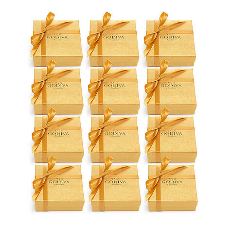 Assorted Chocolate Gold Favor, Gold Ribbon, Set of 12, 4 pc. each