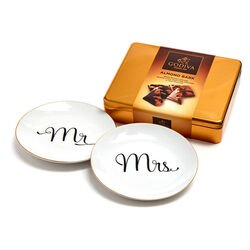 Mr & Mrs Dessert Plates & Almond Bark Tin